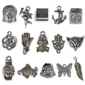 Metal Hanging Charm and Pendants - 15 Pieces (Color : Silver)