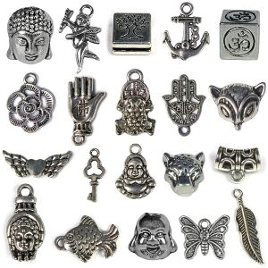 Metal Hanging Charm and Pendants - 20 Pieces (Color : Silver)