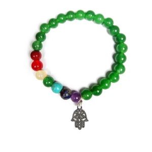 Green Jade With 7 Chakra Hanging Charm Bracelet  8 mm Round Bead