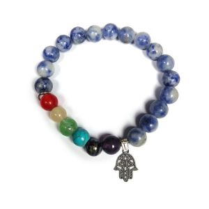 Sodalite With 7 Chakra Hanging Charm Bracelet 8 mm