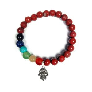 Red Jasper with 7 Chakra Hanging Charm Bracelet