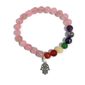 Rose Quartz With 7 Chakra Hanging Charm Bracelet 8 mm