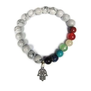 Howlite With 7 Chakra Hanging Charm Bracelet 8 mm