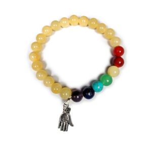 Golden Quartz with 7 Chakra Fatima Hand Charm Hanging Bracelet