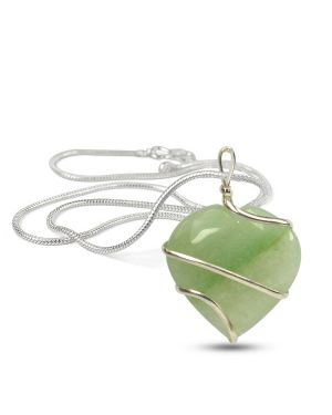 Green Jade Heart Wire Wrapped Pendant With Silver Metal Polished Chain