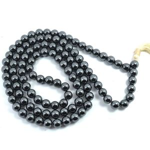 Hematite 8 mm Round Bead Mala & Necklace (108 Beads & 32 Inch Approx)