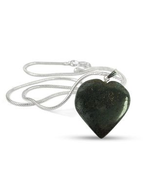 Hematite Heart Shape Pendant - Size 25-30mm with Metal Silver Polished Chain