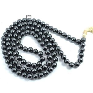Hematite 6 mm Round Beads Mala & Necklace ( 108 Beads, 26 Inch  Approx)