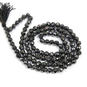 Hematite 8 mm Diamond Cut Mala & Necklace