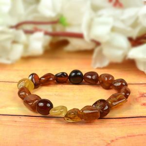 Natural Crystal Stone Hessonite Tumble Bracelet