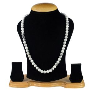 Howlite 8 mm Round Bead Mala & Necklace (108 Beads & 32 Inch Approx)