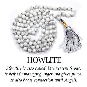 Howlite 6 mm 108 Round Bead Mala / Necklace
