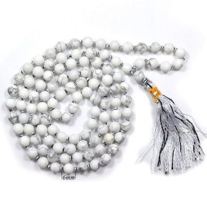 Howlite 6 mm Round Beads Mala & Necklace ( 108 Beads, 26 Inch  Approx)