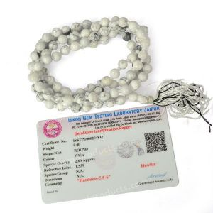 Certified Howlite 6 mm 108 Round Bead Mala with Certificate