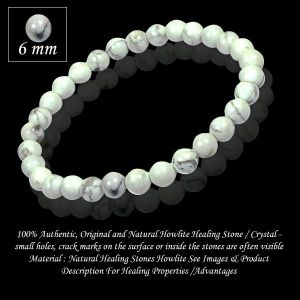 Natural Howlite 6 mm Round Beads Bracelet