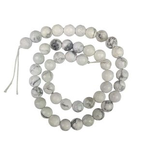 Howlite 8 mm Faceted Beads For Jewelery Making Bracelet, Necklace / Mala