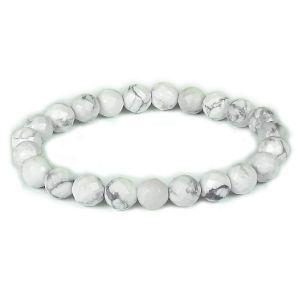 Howlite Certificate 8 mm Faceted Bead Bracelet