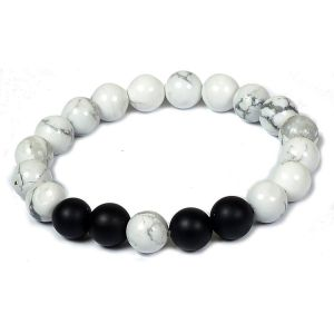 Howlite Bracelet with Black Onyx Bracelet 10 mm