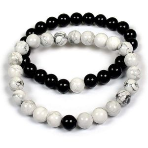 Howlite with Onyx 8 mm Bead Couple Combo Bracelet