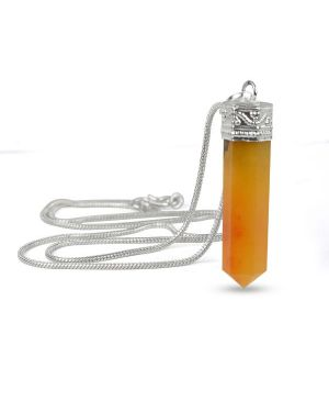 Citrine Pencil Pendant With Silver Polished Metal Chain