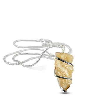 Citrine Natural Wire Wrapped Pendant with Silver Metal Polished Chain