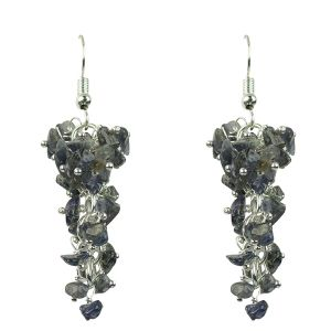 Iolite Crystal Earrings Natural Chip Beads Earrings for Women, Girls (Color :Blue)