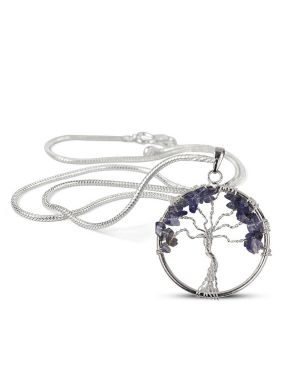 Iolite Tree of Life Pendant with Silver Polished Metal Chain