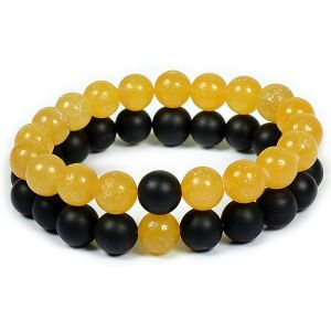 Yellow Jade with Black Onyx Combo Bracelet Pcak of 2 pc