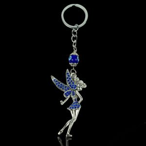 Metal Beautiful Angel Fairy Evil Eye Keychain/Key Ring Good Luck and Prosperity (Color : Silver & Blue) Pack of 1 pc