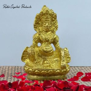 Brass Lord Kuber Statue of Wealth (Size 3 Inch Approx)