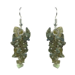 Labradorite Crystal Earrings Natural Chip Beads Earrings for Women, Girls (Color :Green )