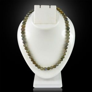 Labradolite 8 mm Round Bead Mala & Necklace (108 Beads & 32 Inch Approx)