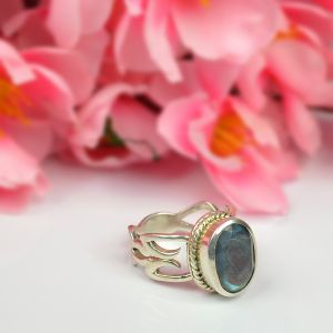Natural Labradorite Silver Ring for Unisex