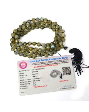 Certified Labradorite 6 mm 108 Round Bead Mala with Certificate