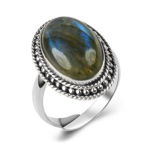 92.5 Silver Ring Labradorite Gemstone Adjustable Ring for Unisex (Color : Green)