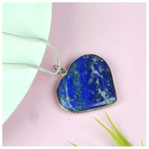 Lapis Lazuli Heart Shape Pendant Size 30-35 mm with Metal Silver Polished Chain