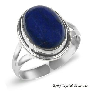 92.5 Silver Ring Lapis Lazuli Gemstone Adjustable Ring for Unisex (Color : Blue)