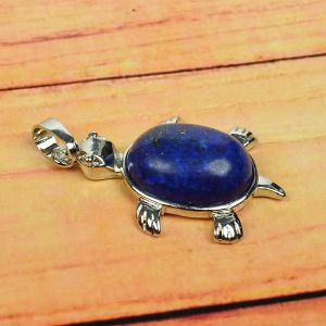 Lapis Lazuli Pendant Turtle Shape for Reiki Healing and Crystal Healing Stone Pendant (Color : Blue)