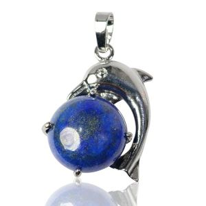 Lapis Lazuli Dolphin Shape Pendant with Metal Polished Chain