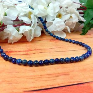 Lapis Lazuli 6 mm Diamond Cut Beads Mala & Necklace ( 108 Beads, 26 Inch  Approx)