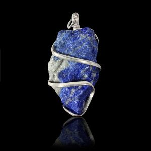 Lapis Lazuli Natural Wire Wrapped Pendant with Silver Polished Chain