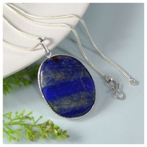 Lapis Lazuli Oval Shape Pendant with Chain
