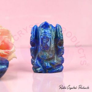 Lapis Lazuli Ganesha Idol, Crystal Ganesha Idol for Car Dashboard 1 Inch Approx (Color : Blue)
