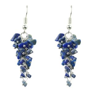 Lapis Crystal Earrings Natural Chip Beads Earrings for Women, Girls (Color :Blue)