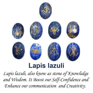 Lapis Lazuli Karuna Reiki Symbol Engraved Set of 9 pc