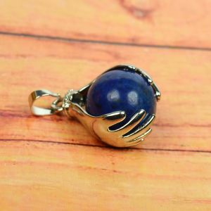 Lapis Lazuli Pendant Hand Ball Shape Pendant for Reiki Healing and Crystal Healing Stone Pendant (Color : Blue)