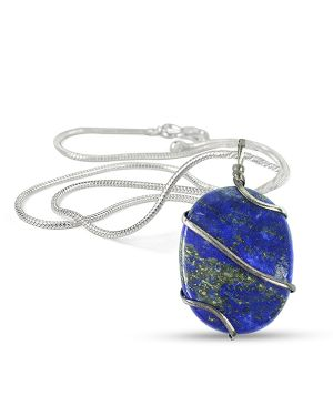 Lapis Lazuli Oval Wire Wrapped Pendant with Silver Polished Chain