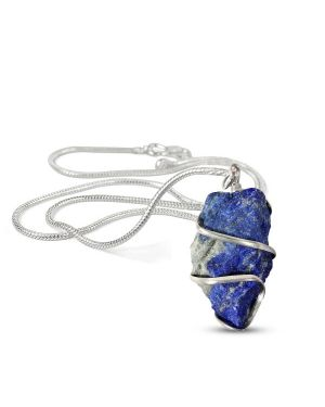 Lapis Lazuli Natural Wire Wrapped Pendant with Chain