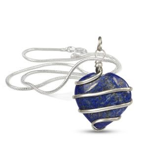 Lapis Lazuli Heart Wire Wrapped Pendant With Silver Metal Polished Chain