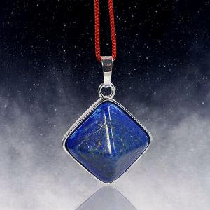 Lapis Lazuli Pyramid Shape Pendant with Metal Polished Chain